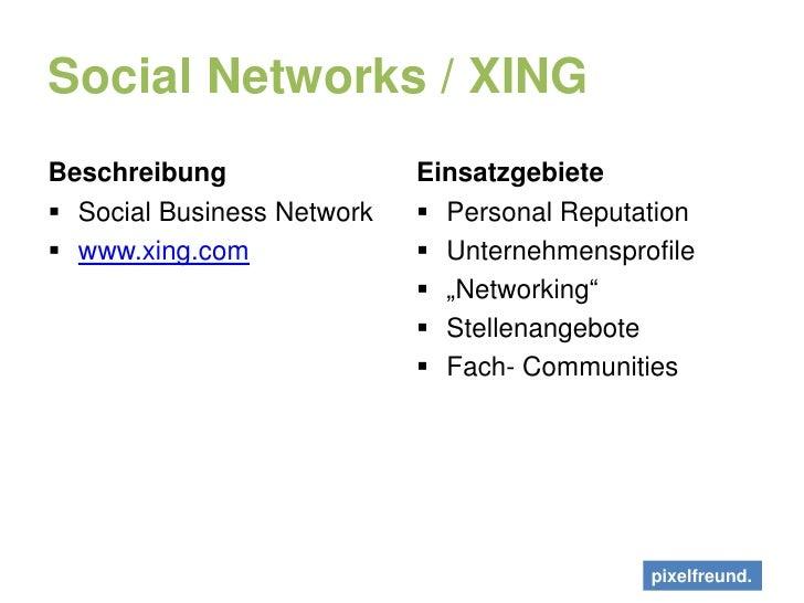 Social Networks / XING<br />Beschreibung<br />Social Business Network<br />www.xing.com<br />Einsatzgebiete<br />Personal ...