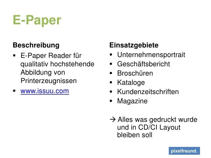 E-Paper<br />Beschreibung<br />E-Paper Reader für qualitativ hochstehende Abbildung von Printerzeugnissen<br />www.issuu.c...