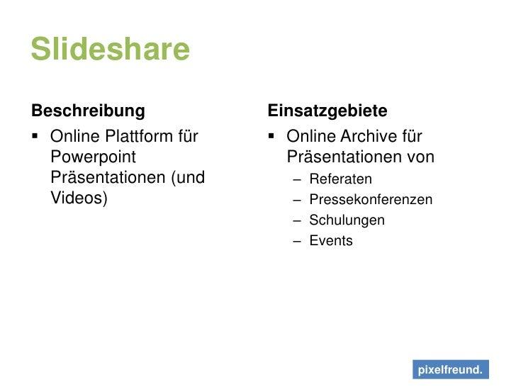 Slideshare<br />Beschreibung<br />Online Plattform für Powerpoint Präsentationen (und Videos)<br />Einsatzgebiete<br />Onl...