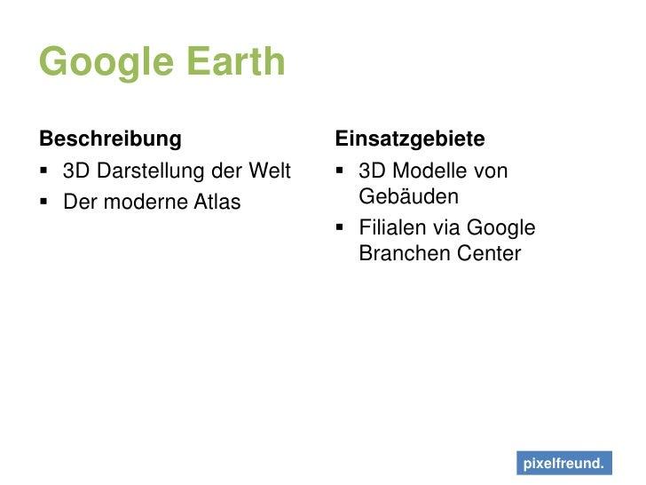 Google Earth<br />Beschreibung<br />3D Darstellung der Welt<br />Der moderne Atlas<br />Einsatzgebiete<br />3D Modelle von...