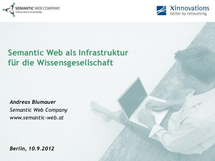 Semantic Web als Infrastrukturfür die WissensgesellschaftAndreas BlumauerSemantic Web Companywww.semantic-web.atBerlin, 10...
