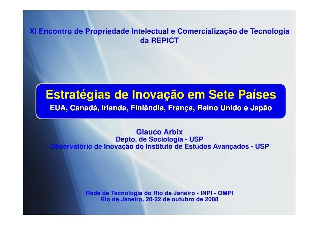 XI Encontro de Propriedade Intelectual e Comercialização de Tecnologia                               da REPICT         Est...