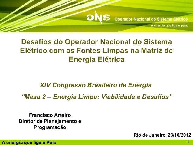 Desafios do Operador Nacional do Sistema        Elétrico com as Fontes Limpas na Matriz de                      Energia El...
