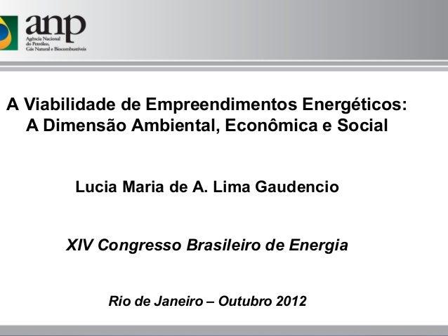 A Viabilidade de Empreendimentos Energéticos:  A Dimensão Ambiental, Econômica e Social       Lucia Maria de A. Lima Gaude...