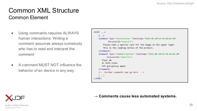 Author: Stefan Meissner Version: 2017-07-04 Source: http://ricebean.net/xjdf Common XML Structure Common Element ● Using c...