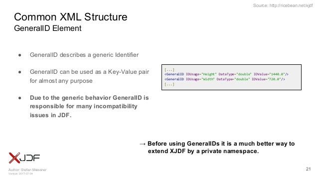 Author: Stefan Meissner Version: 2017-07-04 Source: http://ricebean.net/xjdf Common XML Structure GeneralID Element ● Gene...