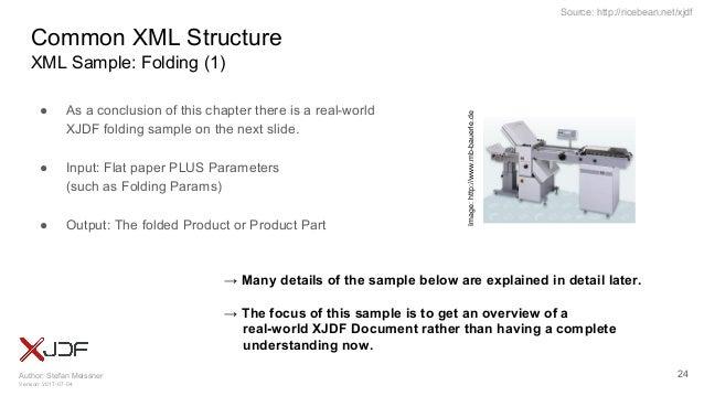 Author: Stefan Meissner Version: 2017-07-04 Source: http://ricebean.net/xjdf Common XML Structure XML Sample: Folding (1) ...
