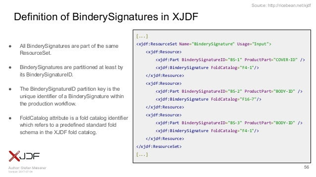 Author: Stefan Meissner Version: 2017-07-04 Source: http://ricebean.net/xjdf Definition of BinderySignatures in XJDF ● All...