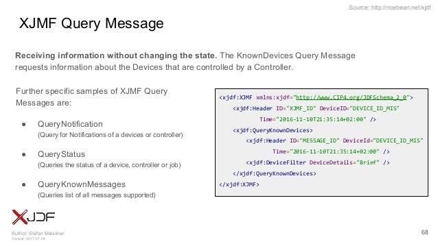 "Author: Stefan Meissner Version: 2017-07-04 Source: http://ricebean.net/xjdf XJMF Query Message 68 <xjdf:XJMF xmlns:xjdf=""..."
