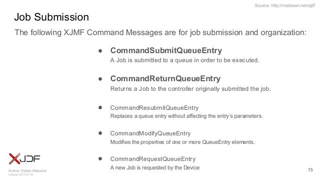 Author: Stefan Meissner Version: 2017-07-04 Source: http://ricebean.net/xjdf Job Submission 75 The following XJMF Command ...