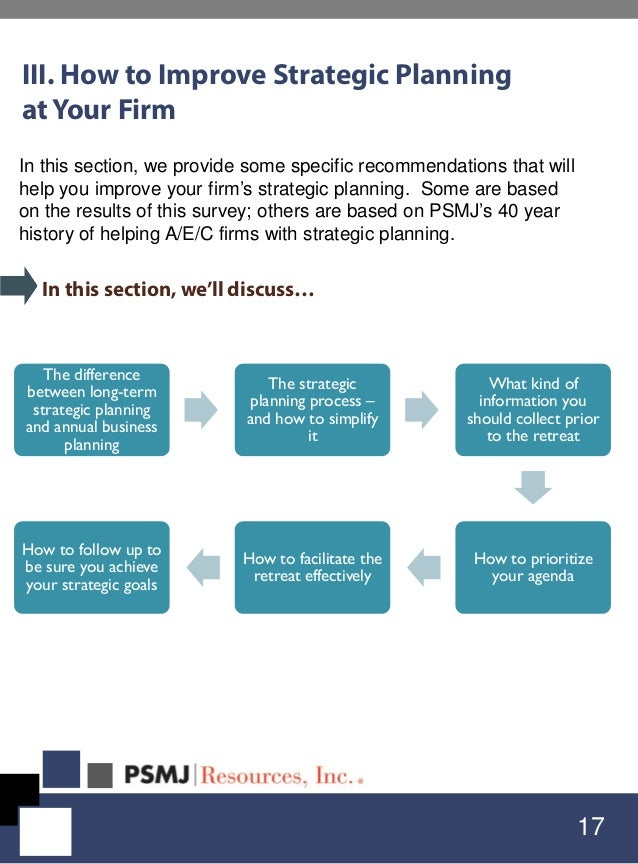 III. How to Improve Strategic Planning at Your Firm 17 In this section, we'll discuss… The difference between long-term st...