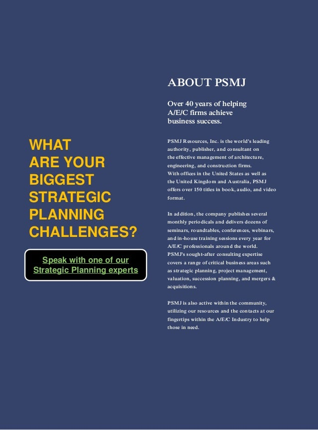 ABOUT PSMJ Over 40 years of helping A/E/C firms achieve business success. PSMJ Resources, Inc. is the world's leading auth...