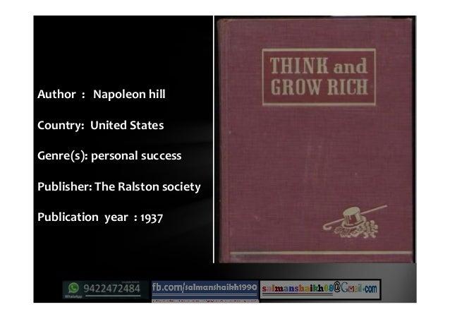 Author : Napoleon hillNapoleon hill Country: United States Genre(s): personal success Publisher: The Ralston society Publi...