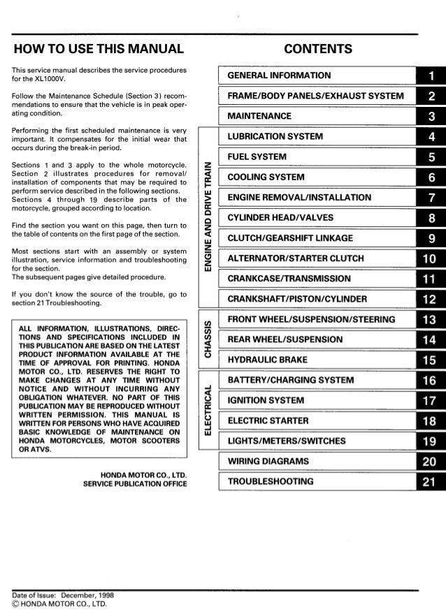 xl1000 varadero service manual rh slideshare net honda varadero 1000 wiring diagram honda xl 125 varadero wiring diagram
