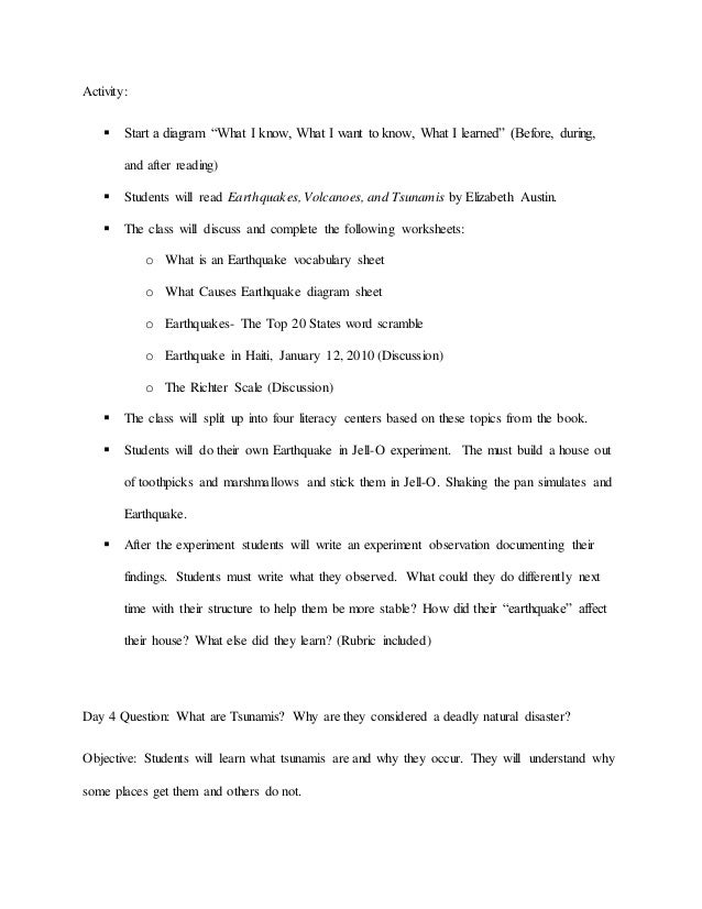 Natural Disasters Lesson Plans Th Grade