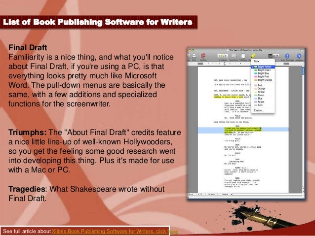software for writers Authors planning and writing applications liquid story binder xe (windows, 45 usd, generally goes on 50% sale around nanowrimo time): liquid story binder xe is a full planning, research and writing environment that is meant to be set up to the way you write includes all kinds of planning tools: sequences, storyboards, outlines, mindmaps.
