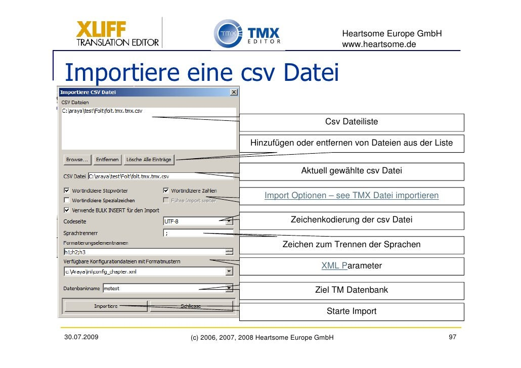 Heartsome Europe GmbH                                                           www.heartsome.de   Importiere eine csv Dat...