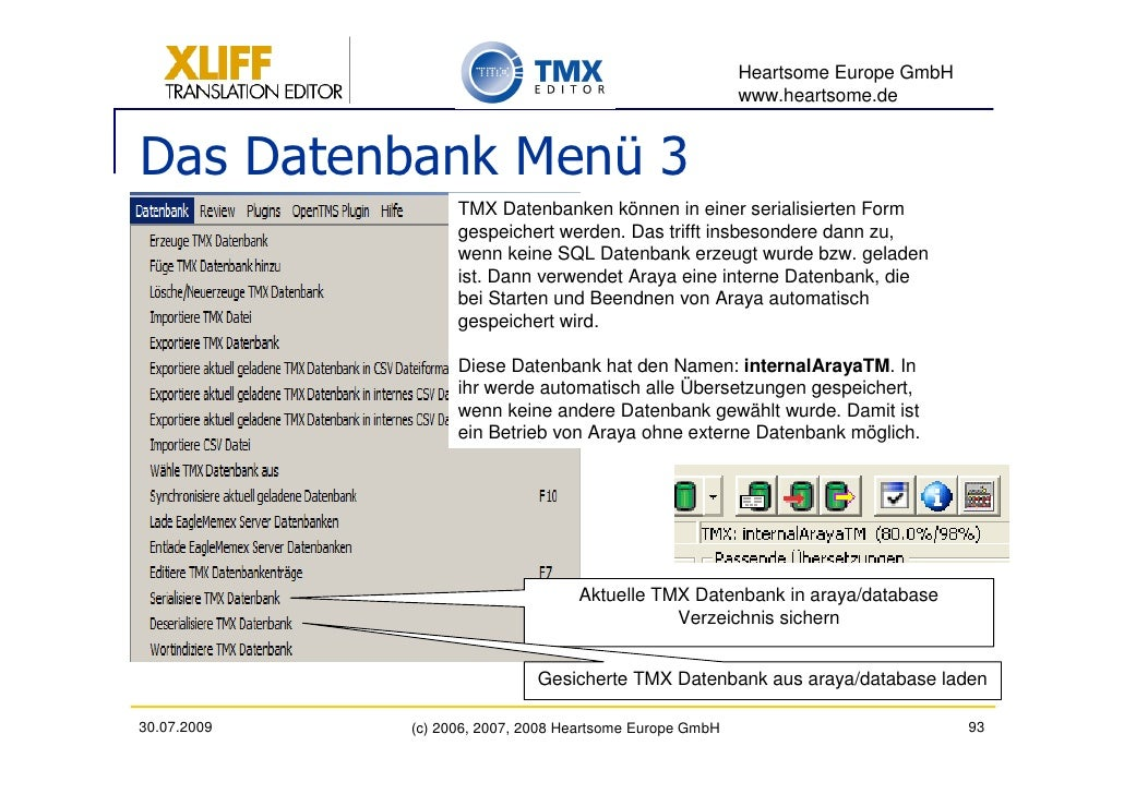 Heartsome Europe GmbH                                                           www.heartsome.de   Das Datenbank Menü 3   ...