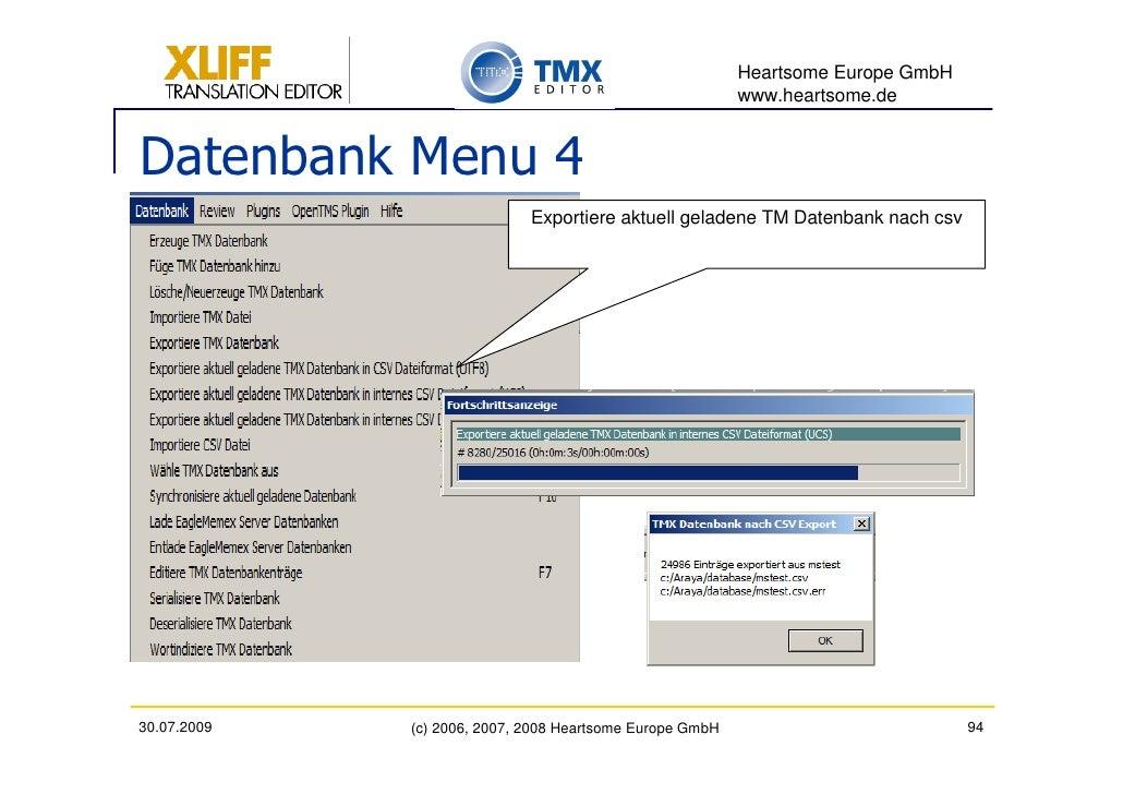 Heartsome Europe GmbH                                                           www.heartsome.de   Datenbank Menu 4       ...
