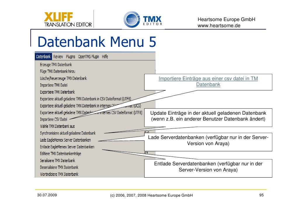 Heartsome Europe GmbH                                                           www.heartsome.de   Datenbank Menu 5       ...
