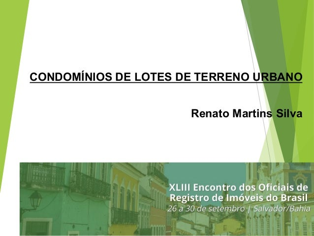 CONDOMÍNIOS DE LOTES DE TERRENO URBANO Renato Martins Silva 1