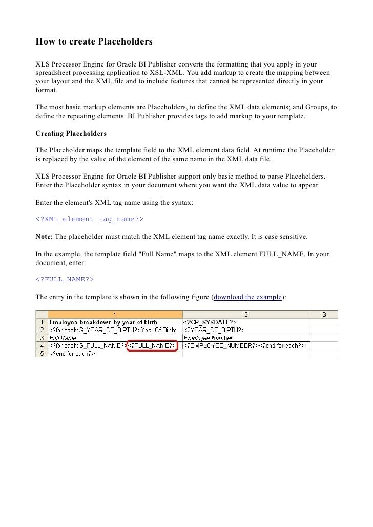 Xls processor engine for oracle bi publisher 1.0 build 39 design ms excel template