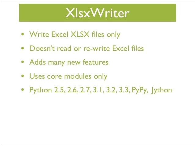Creating Excel files with Python and XlsxWriter