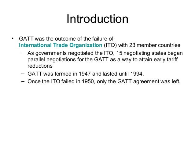 General Agreement On Tariff And Trade Gatt