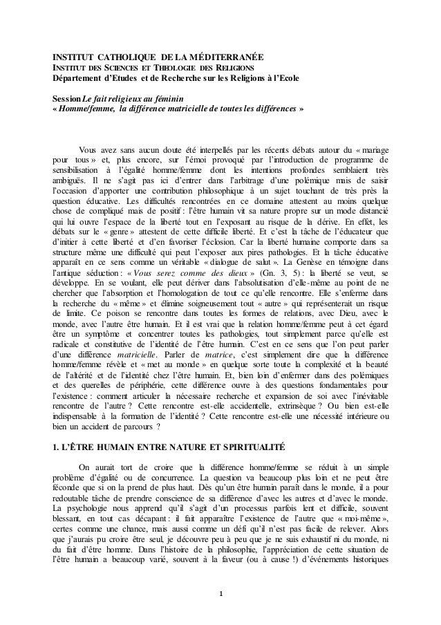 1 INSTITUT CATHOLIQUE DE LA MÉDITERRANÉE INSTITUT DES SCIENCES ET THEOLOGIE DES RELIGIONS Département d'Etudes et de Reche...
