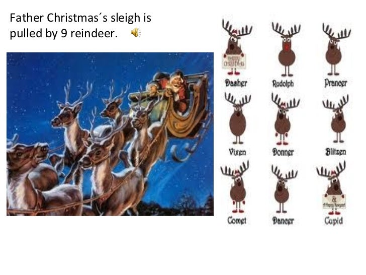 Father Christmas´s sleigh is pulled by 9 reindeer.