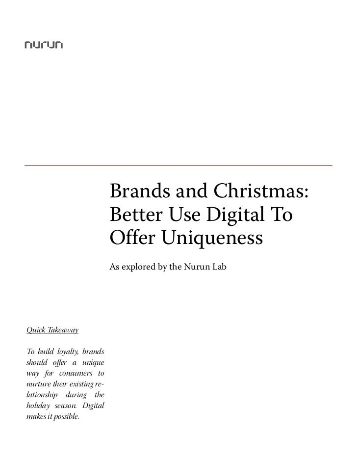 Brands and Christmas: Better Use Digital To Offer Uniqueness                             Brands and Christmas:            ...