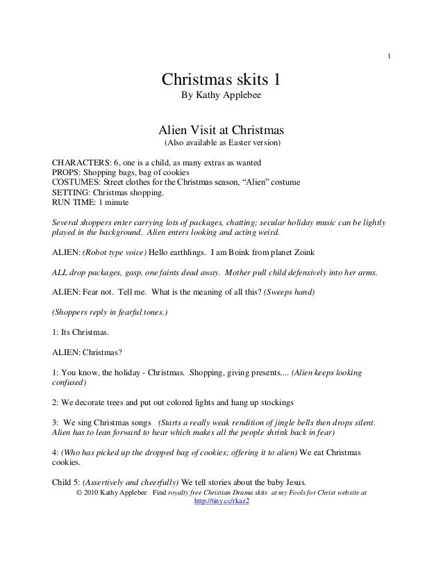 1                                  Christmas skits 1                                         By Kathy Applebee            ...