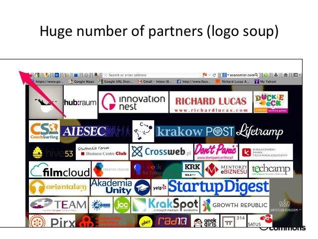 Huge  number  of  partners  (logo  soup)