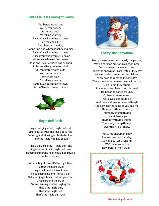 Christmas carols list lyrics