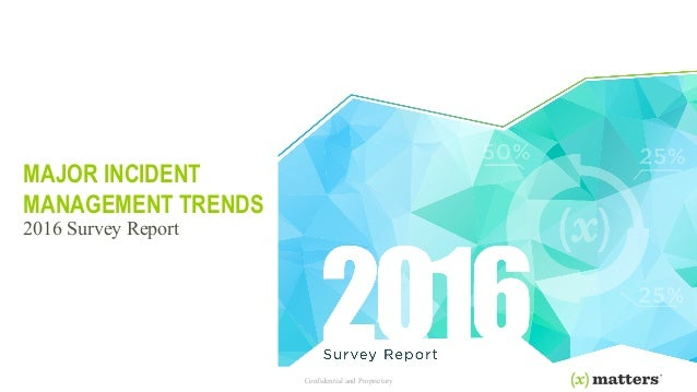 Confidential and Proprietary MAJOR INCIDENT MANAGEMENT TRENDS 2016 Survey Report