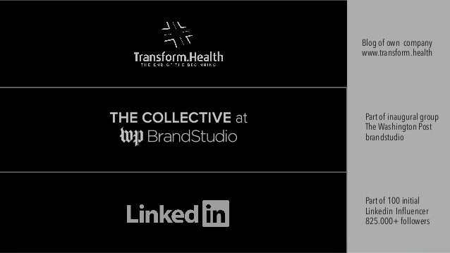 Part of inaugural group The Washington Post brandstudio Part of 100 initial Linkedin Influencer 825.000+ followers Blog of...
