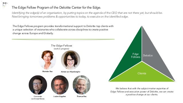 © 2019 Deloitte The Netherlands Identifying the edge(s) of an organisation, by putting topics on the agenda of the CEO tha...