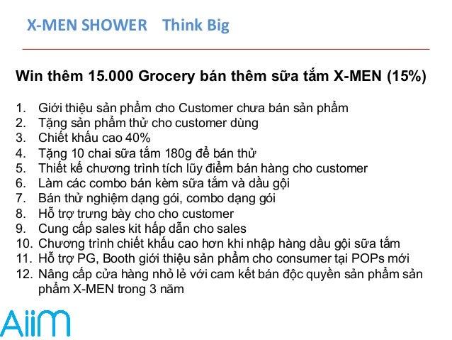 X-‐MEN  SHOWER  Think  Big  Win thêm 15.000 Grocery bán thêm sữa tắm X-MEN (15%)  1. Giới thiệu sản phẩm cho Customer chư...