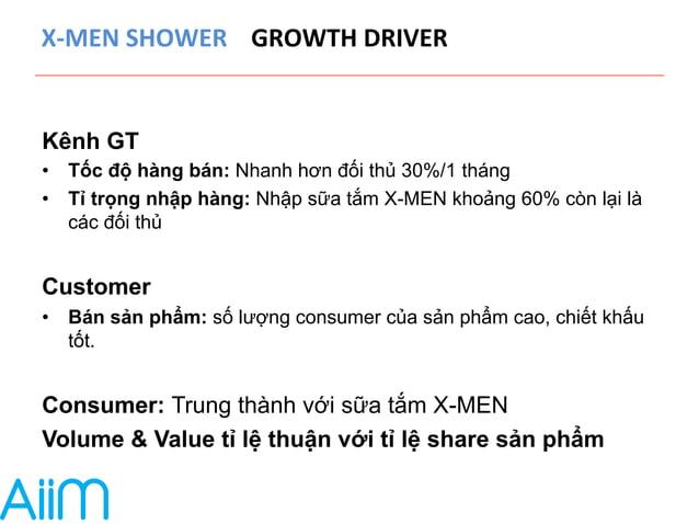 X-‐MEN  SHOWER  GROWTH  DRIVER  Kênh GT  • Tốc độ hàng bán: Nhanh hơn đối thủ 30%/1 tháng  • Tỉ trọng nhập hàng: Nhập sữa...