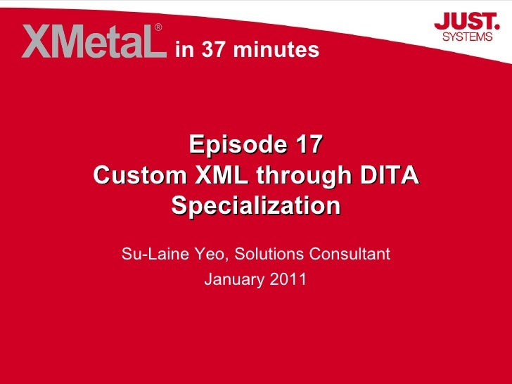 Episode 17 Custom XML through DITA Specialization Su-Laine Yeo, Solutions Consultant January 2011 in 37 minutes