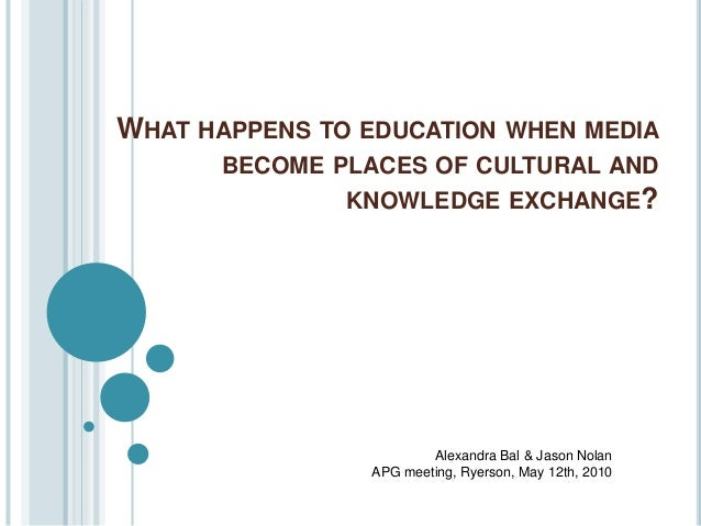 WHAT HAPPENS TO EDUCATION WHEN MEDIA BECOME PLACES OF CULTURAL AND KNOWLEDGE EXCHANGE? Alexandra Bal & Jason Nolan APG mee...