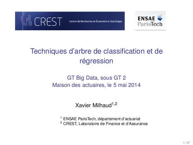 Techniques d'arbre de classification et de régression GT Big Data, sous GT 2 Maison des actuaires, le 5 mai 2014 Xavier Mil...