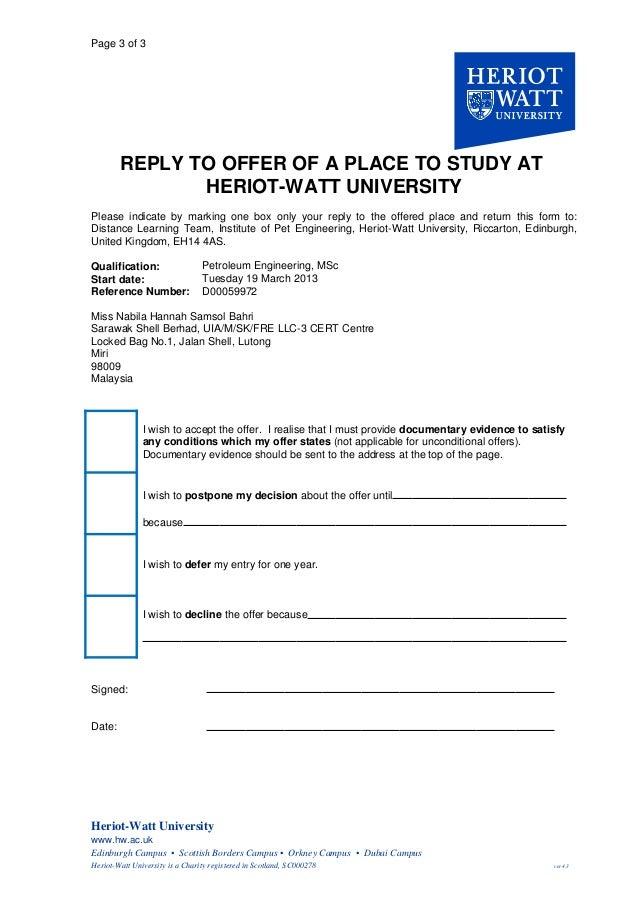 Offer Letter from HWU