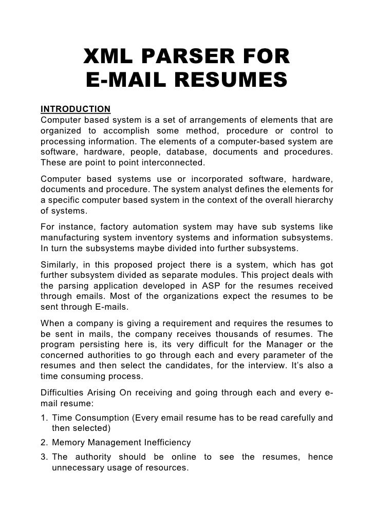 xml parser for e mail resumes