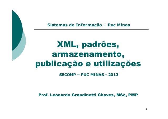 XML, padrões, armazenamento, publicação e utilizações Sistemas de Informação – Puc Minas 1 publicação e utilizações Prof. ...
