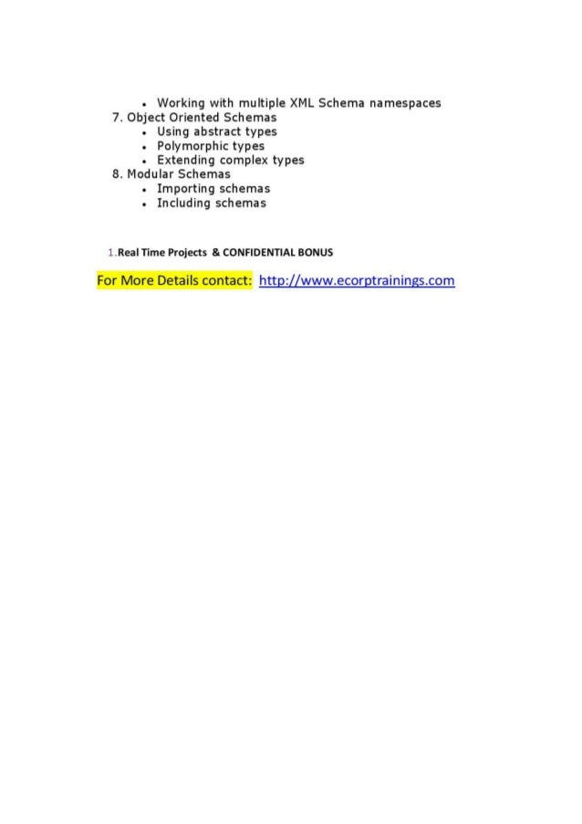 XML SCHEMA Online training Tutorials | Best  XML SCHEMA training | Ecorptrainings