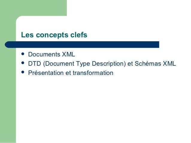 Les concepts clefs   Documents XML   DTD (Document Type Description) et Schémas XML   Présentation et transformation