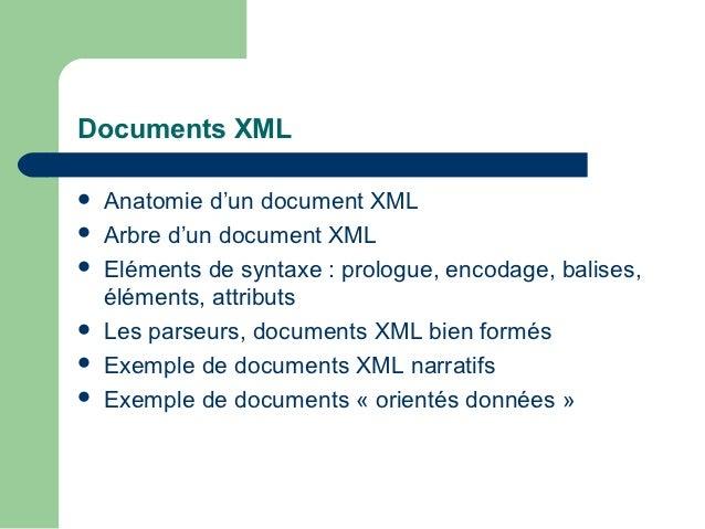 Documents XML   Anatomie d'un document XML   Arbre d'un document XML   Eléments de syntaxe : prologue, encodage, balise...