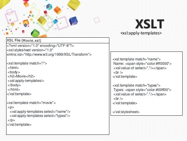 To try use XSL for display group XML file movies