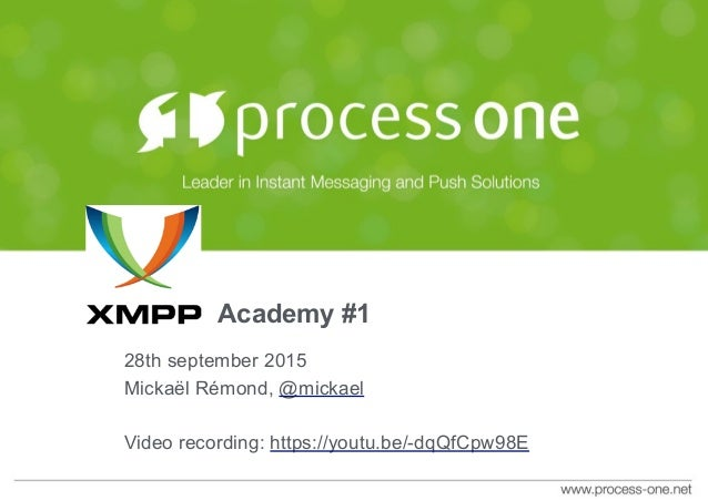 Academy #1 28th september 2015 Mickaël Rémond, @mickael Video recording: https://youtu.be/-dqQfCpw98E